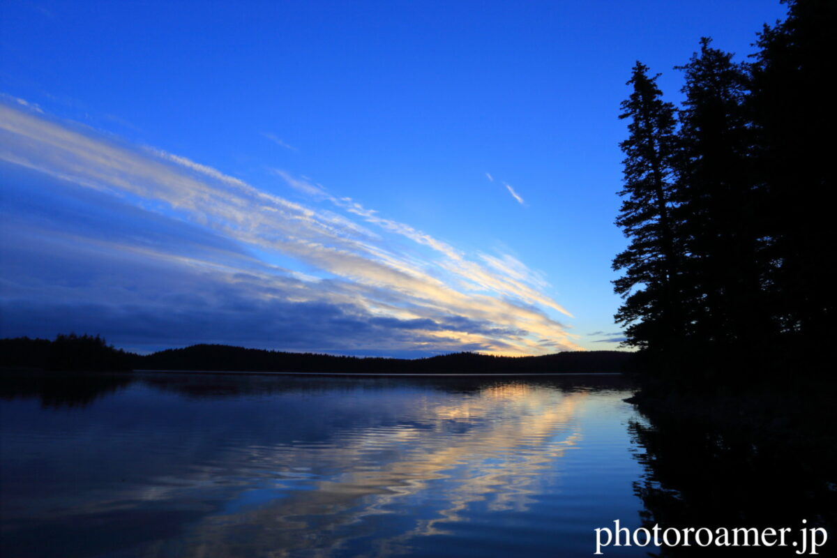 アラスカ キャンプ 夕陽