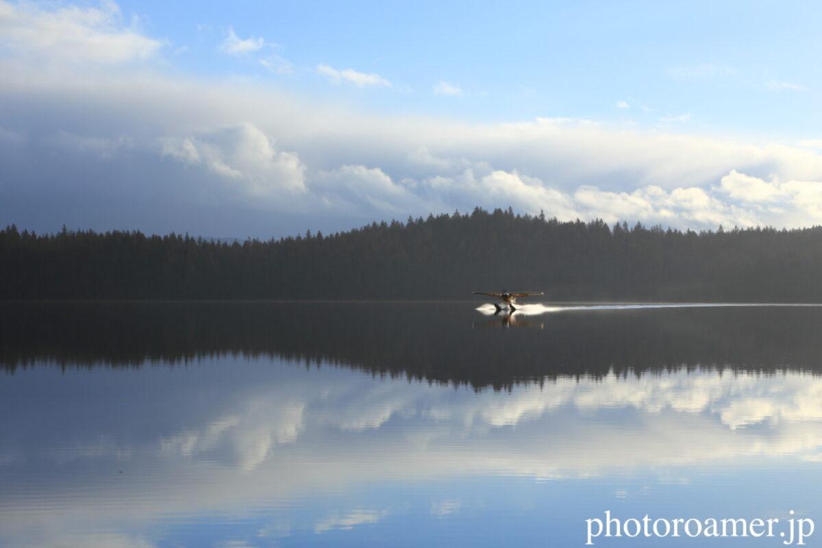 アラスカ 島 湖面 着水