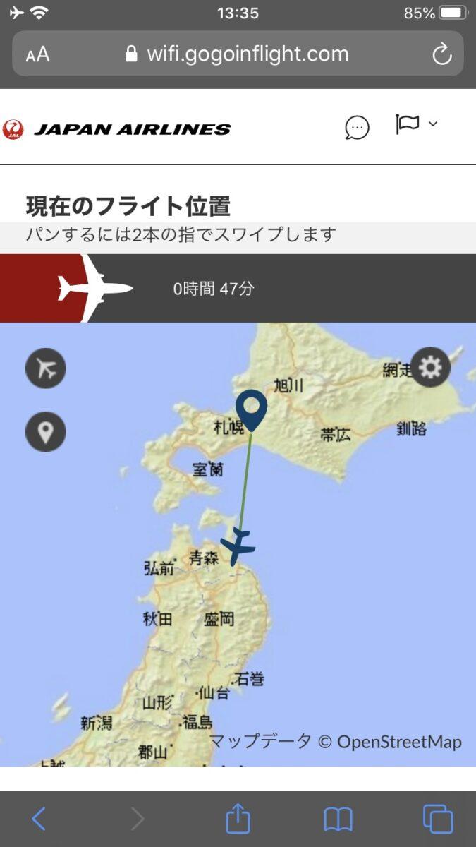 JAL 国内線 WiFi フライトマップ