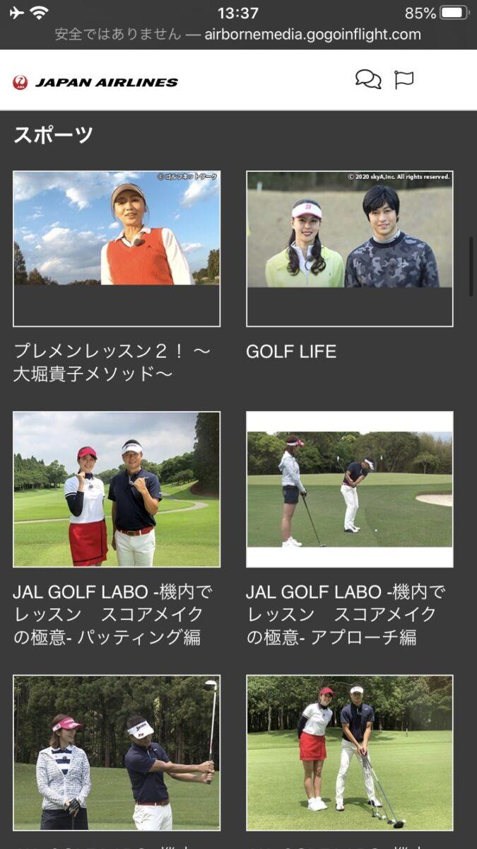 JAL 国内線 WiFi ビデオ スポーツ