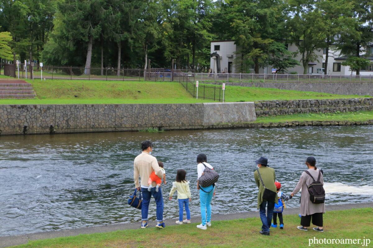 北海道旅行 道の駅 サーモンパーク千歳 千歳川 家族連れ