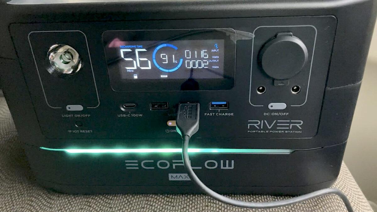 エコフロー RIVER600 シガーソケット充電 使用
