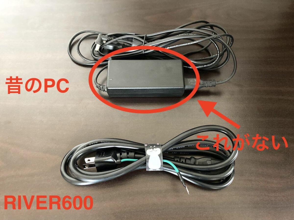 エコフロー RIVER600 AC電源ケーブル コンパクト