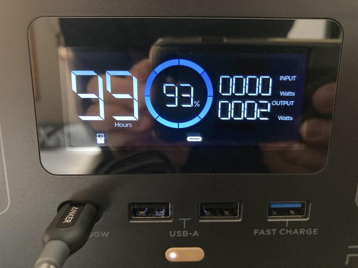 エコフロー RIVER600 ディスプレイ表示 USB-C
