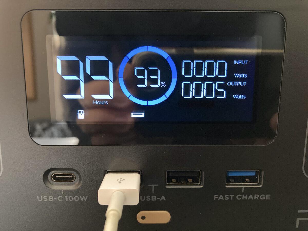 エコフロー RIVER600 ディスプレイ表示 USB-A