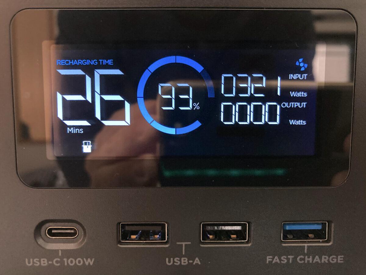 エコフロー RIVER600 ディスプレイ表示 本体充電